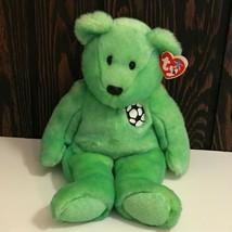 "Vintage 1999 Ty Kicks Beanie Buddy Soccer Bear 14"" Plush Stuffed Animal - $13.02"
