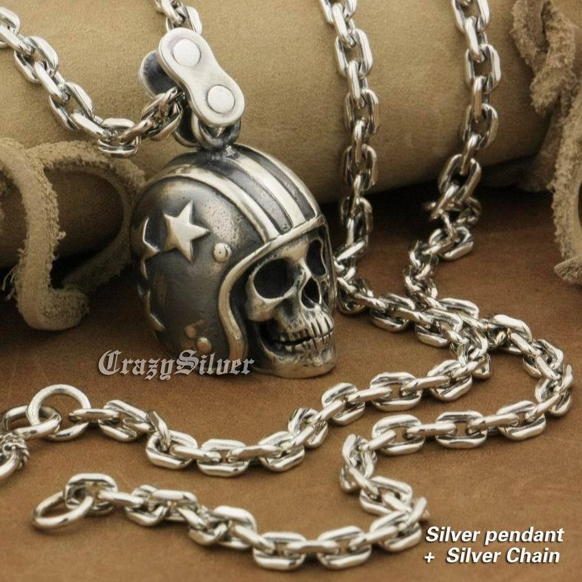 LINSION 925 Sterling Silver Motorcycle Helmet Skull Mens Punk Pendant Necklace