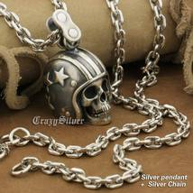 LINSION 925 Sterling Silver Motorcycle Helmet Skull Mens Punk Pendant Necklace image 1