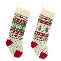 Kurt Adler Red, Ivory And Green Christmas Tree And Snowflake Knit Stockings - $17.60