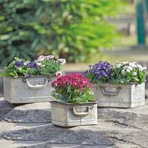 Set / 3 Rustic Iron Planters Flowers Pots Boxes Garden/Patio Decor - $67.32