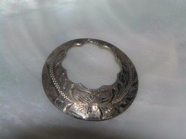 Vintage Sterling Silver marked Etched Open Circle with Scalloped Openi... - $10.39