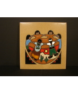 1984 Cleo Teissedre 6 x 6 Inch Art Tile Native Dancers  Motif - $12.29