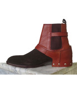 Handmade men's Brown Suede Leather Boots Men Buckle Sh dresses Formal Boots - $179.97+
