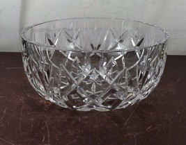 "Vintage Round Center Piece 8"" D Cut Thick Heavy  Crystal Glass Bowl - $23.38"