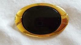 """Large 2.25"""" Designer Signed N API Er Faux Black Onyx Statement Brooch Pin,Goldtone - $5.93"""