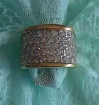 18K HGE Clear Rhinestone Cigar Band Ring Size 6 - $44.55