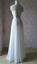 WHITE Chiffon Maxi Skirt Full Long Chiffon Skirt White Wedding Bridesmaid Skirt image 4