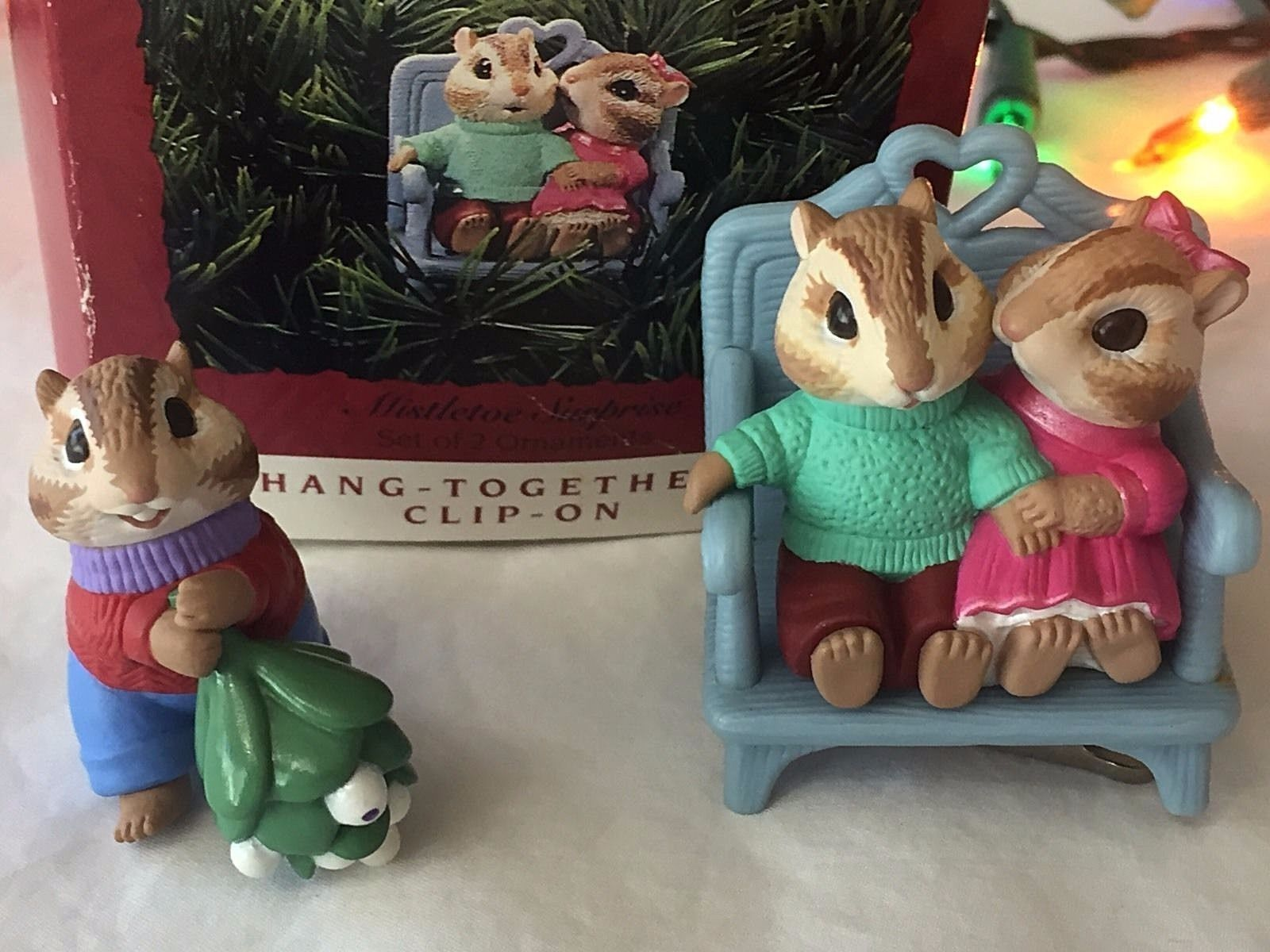 Mistletoe Surprise Hallmark Keepsake Christmas Ornament Set 2 Chipmunks Clip On
