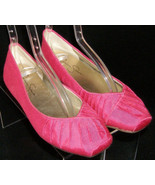 Jessica Simpson Emmly pink fabric scalloped square toe ballet flats 5.5M - $27.73