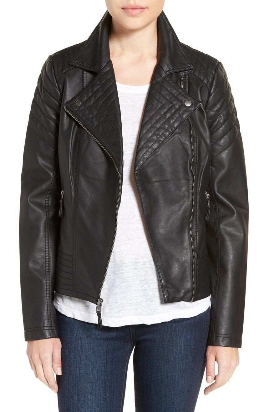 WOMEN BIKER MOTORCYCLE CASUAL SLIM FIT RIDER REAL GENUINE  LEATHER JACKET-A92