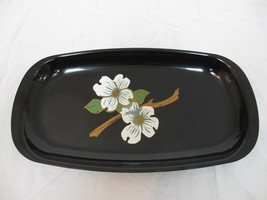 Couroc of Monterey Serving Tray with Wood Inlay White Floral Blossom Mot... - $56.25