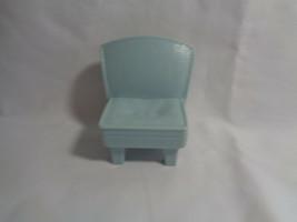 2008 Mattel Light Blue Plastic Loving Family Dollhouse Dining Living Room Chair  - $2.54