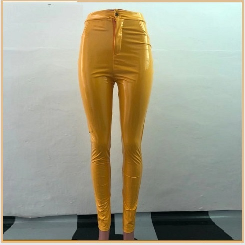 Bright Yellow Tight Fit Faux Leather High Waist Front Zip Up Legging Pencil Pant