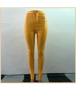 Bright Yellow Tight Fit Faux Leather High Waist Front Zip Up Legging Pen... - $68.95