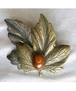 Elegant Dark Gold-tone & Silver-tone Chocolate Lucite Leaf Brooch   - $12.95