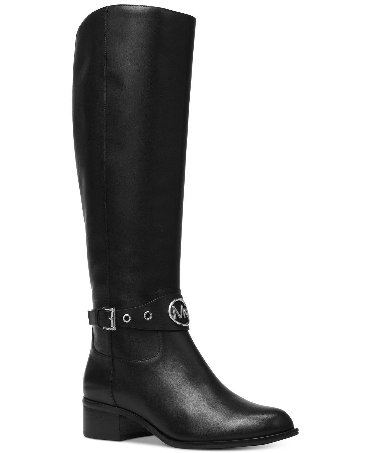 Michael Kors MK Women's Knee High Leather Tall Heather Riding Boots Black