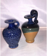 Two Miniature pottery vases from Greece Handmade pottery home decor blue... - $18.00