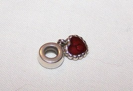 Pandora Sterling Silver Charm w/Red Dangle Heart image 2