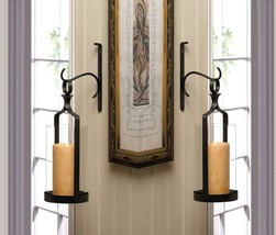 2 Contemporary Black Wall Sconces with Clear Hurricane Pillar Candle Holder - $69.95