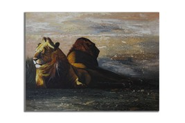 Ansavv King Of The Jungle Multicolor Oil On Canvas Painting - $376.00
