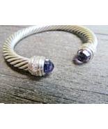David Yurman 7mm Amethyst  & Diamond Cable Bangle Cuff Bracelet w/Pouch - $640.44