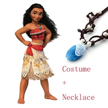 Princess Moana Party Dress with Necklace Cosplay Halloween Costume for G... - $25.90+