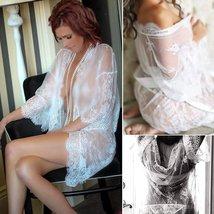 Women's Lace Kimono Robe Babydoll Lingerie Mesh Nightgown Set