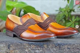 Genuine Leather Superior Moccasin Brownish Tan Slip Ons Handcrafted Men Shoes - $139.90+