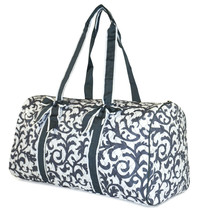 Damask Large Quilted Duffle Bag Duffel Travel Luggage Womens Girls Gym Teens