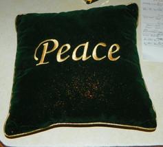 Green Gold Velvet Peace Print Decorative Pillow  12 x 12 - $29.95