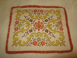 "Floral & Swirl NEEDLE PUNCH Embroidery Fringed Pillow Cover - 23.5"" x 19... - $17.77"