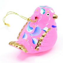 Handcrafted Painted Ceramic Pink Songbird Confetti Ornament Made in Peru image 4