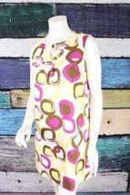 Max and Cleo BCBG Yellow Purple Mod Retro Shift Dress 10 Career Office Work - $29.69