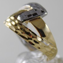 SOLID 18K WHITE & YELLOW GOLD BAND RING HUG INFINITY FINELY WORKED MADE IN ITALY image 2