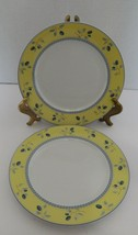 Royal Doulton Blueberry Pattern Two Luncheon Salad Plates Yellow Trim Blue  - $14.73