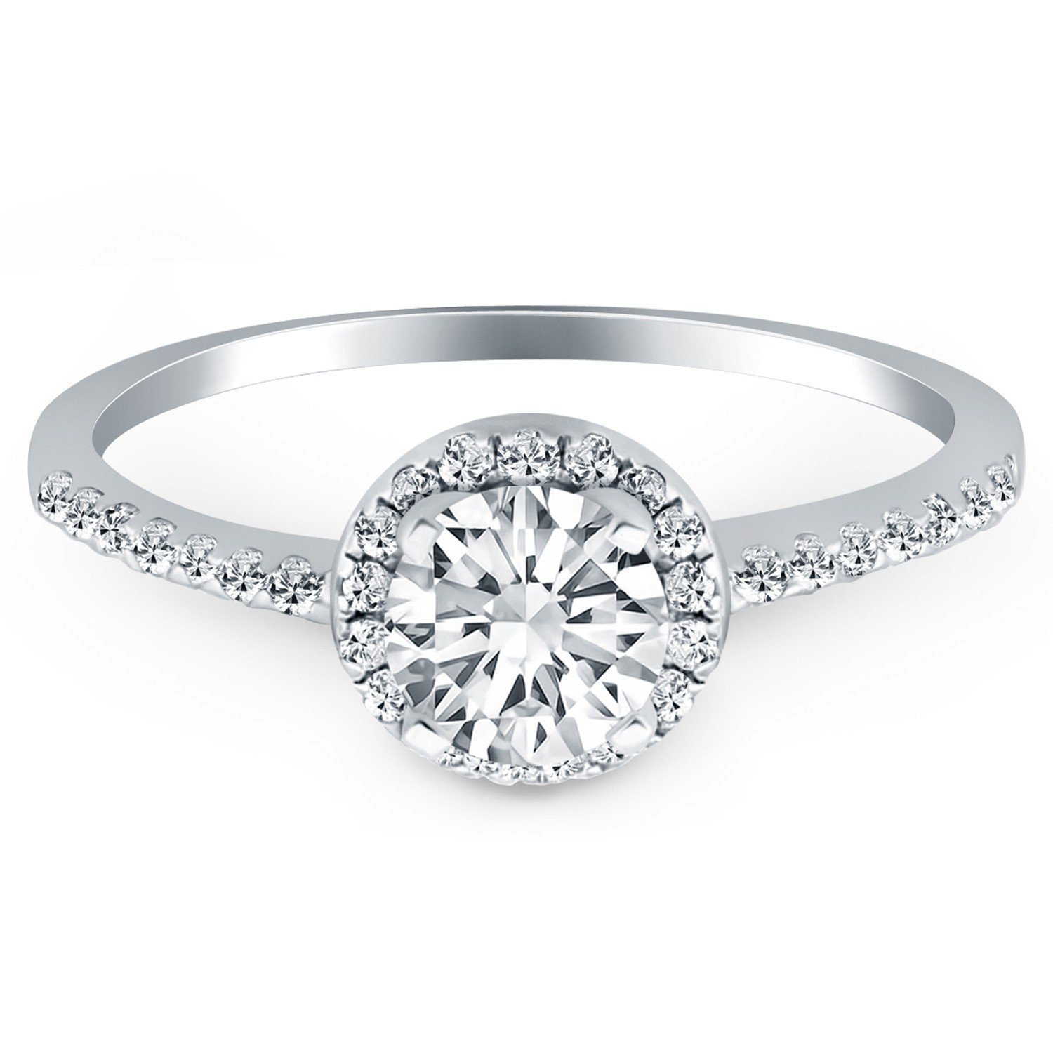 14k White Gold Diamond Halo Collar Engagement Ring