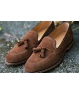 Handmade Brown Suede Tassels Loafer Slips On Formal Moccasin Shoes  - $156.73