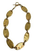 Vintage Biche De Bere Paris Gold tone Hammered Metal Link Chocker Necklace  - $63.05
