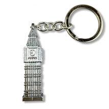 silver 3d big ben london uk metal keyring, keyfob, keychain, 4 sided big ben image 2