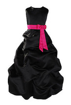 Flower Girl Party Bridesmaid Pageant Dress 1-13 Year Black Sash In 10col... - $39.56+
