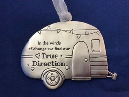 "NEW    Camper RV Teardrop T@B Pewter Ornament ""True Direction"" - $11.83"