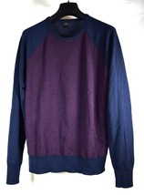 J Crew Mens Merino Wool Crewneck Block Sweater Navy Burgundy M - $29.70