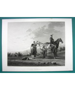SOLDIERS Troopers Horses by Cuyp - SUPERB 1850s Antique Print - $10.12