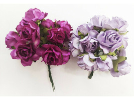 Mulberry Paper Lavender and Fuchsia Roses, 25mm, 20 Count