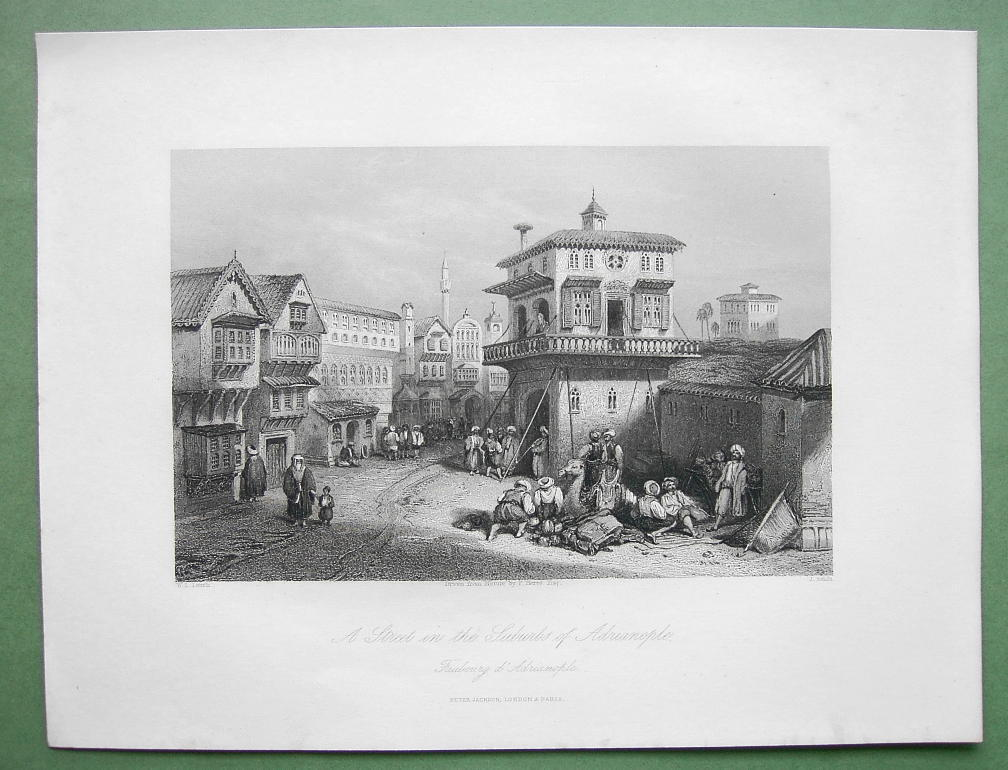 Primary image for TURKEY Street in Suburbs of Adrianople - 1840 Original Print Engraving by ALLOM