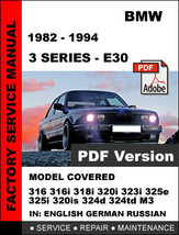 Bmw 3 Series 1982 - 1994 E30 Workshop Service Repair Factory Manual - $14.95