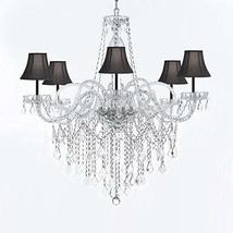 Murano Venetian Style All-Crystal Chandelier Chandeliers with Black Shades W/Chr - $293.98