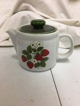 VINTAGE MCCOY STONEWARE TEA Coffee POT STRAWBERRY DESIGN #1418 - $28.99