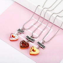 3 pcs/set Best Friends Forever BFF Love Peach Heart Pendant Necklace Women Kid G